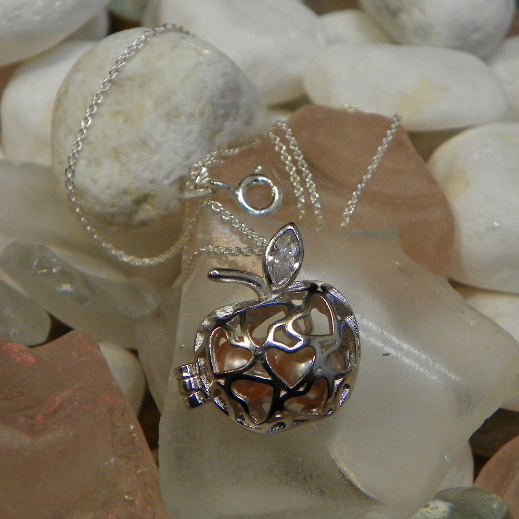 "Apple w/ Hearts Pearl Cage in Sterling Silver w/ Sterling Silver 20"" Chain #109"