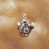 Monkey with CZ Eyes Pearl Cage - Sterling Silver #047