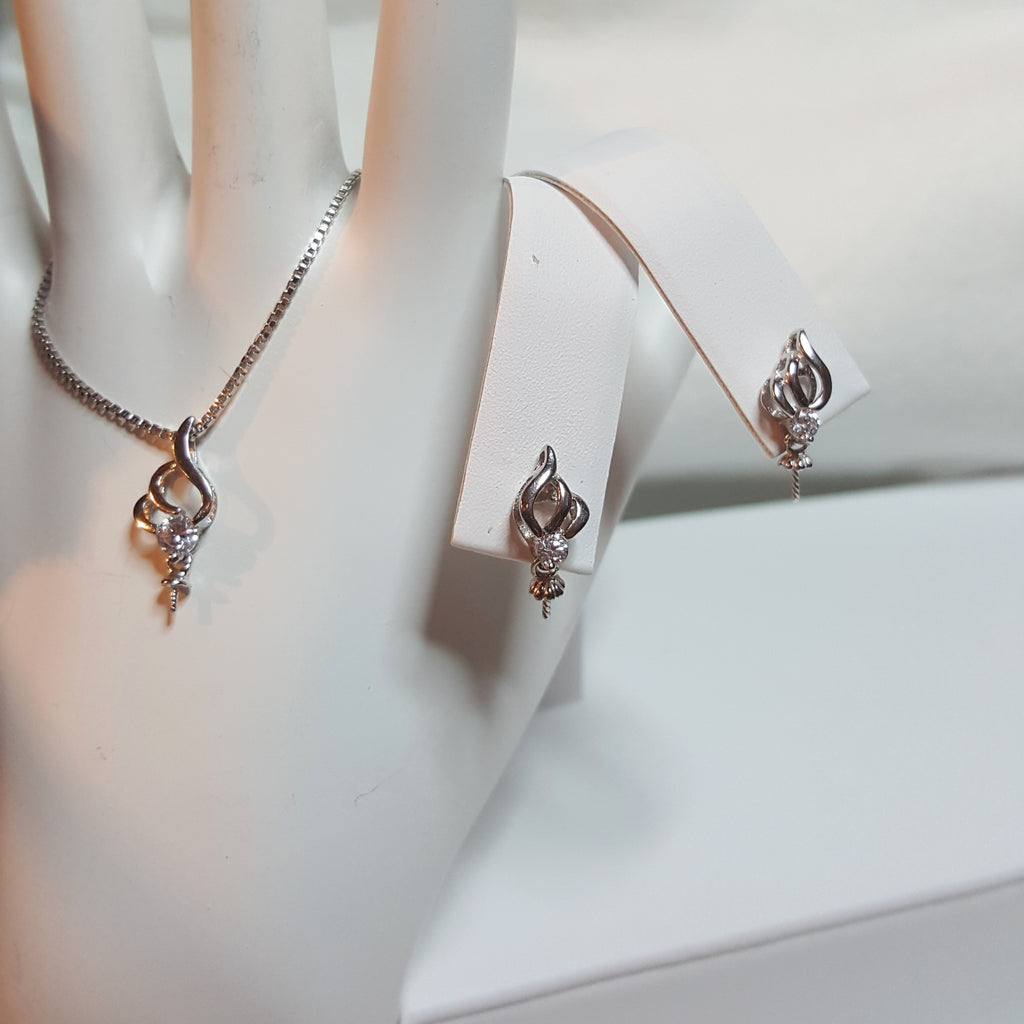 "Set of Pendant, Earrings and 24"" Box chain  in Sterling Silver - FREE pearl mounting!"