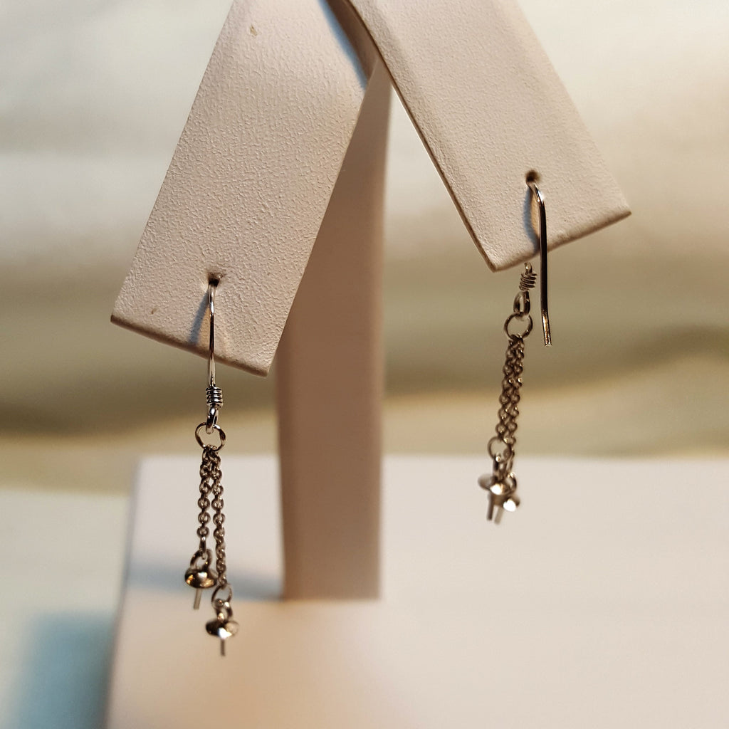 Fish Hook Double Dangle Earrings in Sterling Silver - FREE pearl mounting! - #856