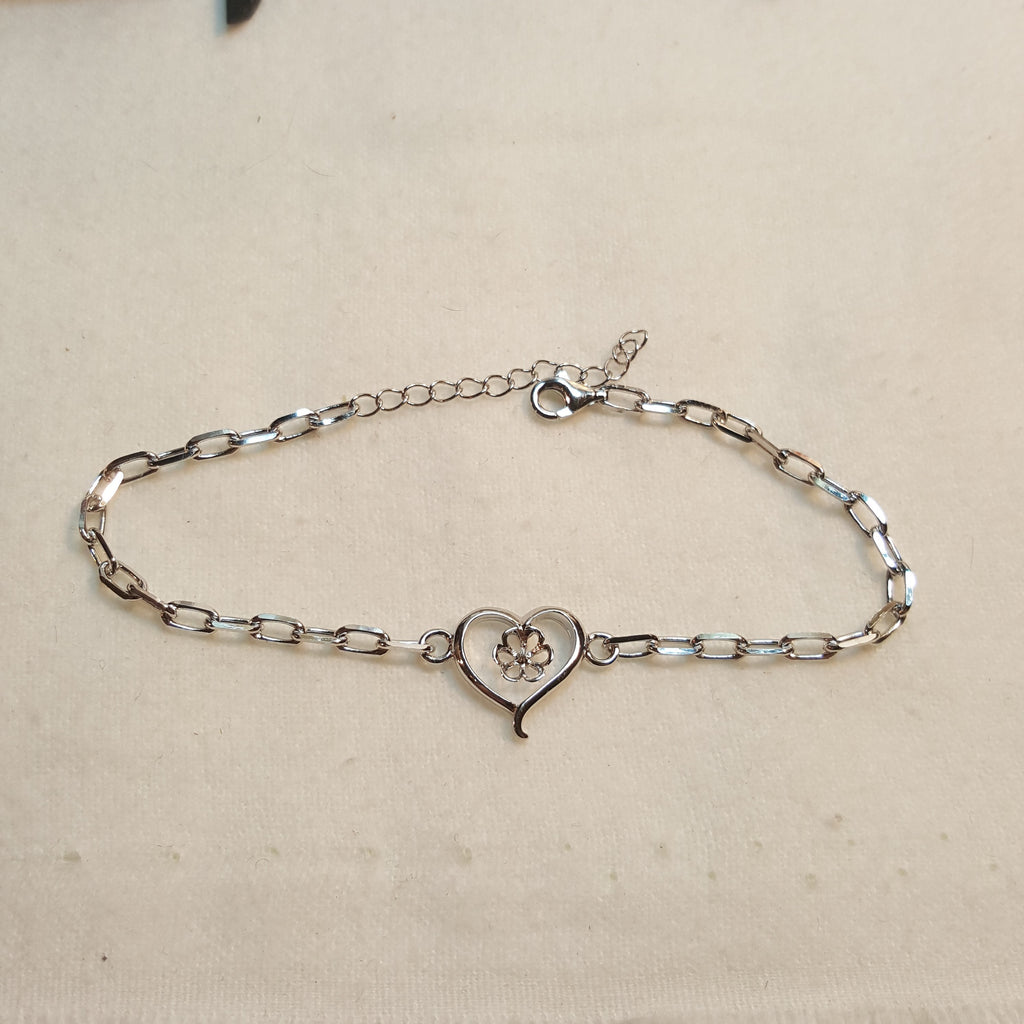 Bracelet with Heart Mounting in Sterling Silver - FREE Pearl Mounting! - #830