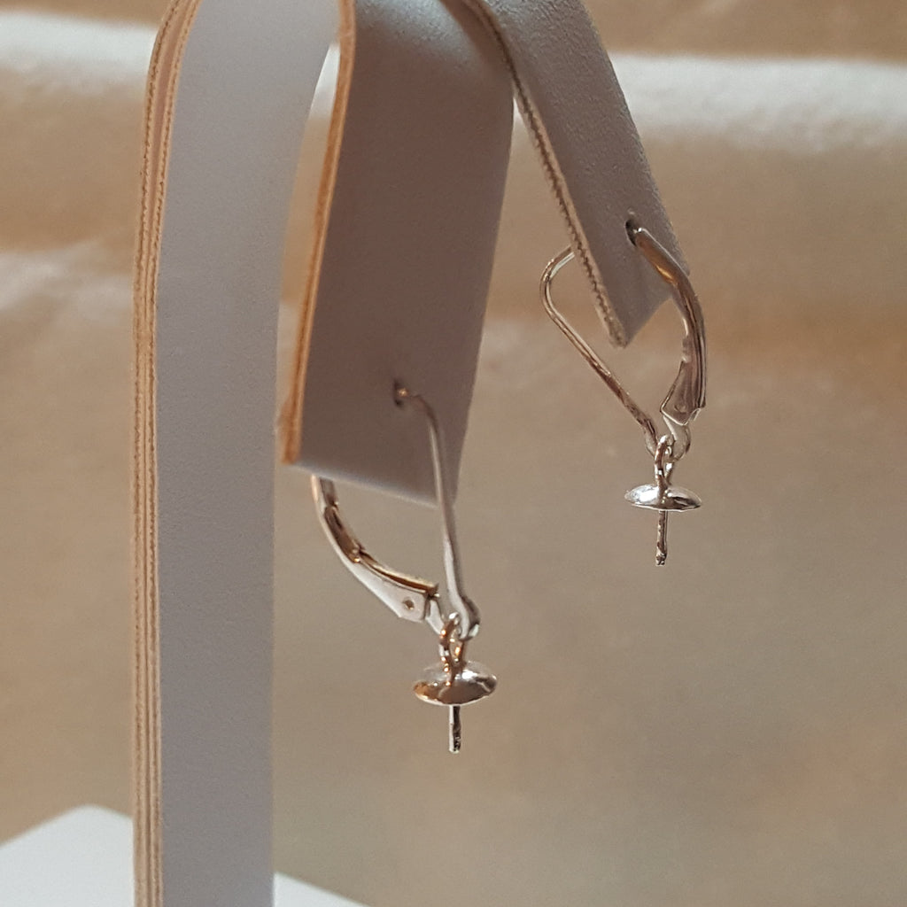 Leaver Back Earrings in Sterling Silver - FREE pearl mounting! #861