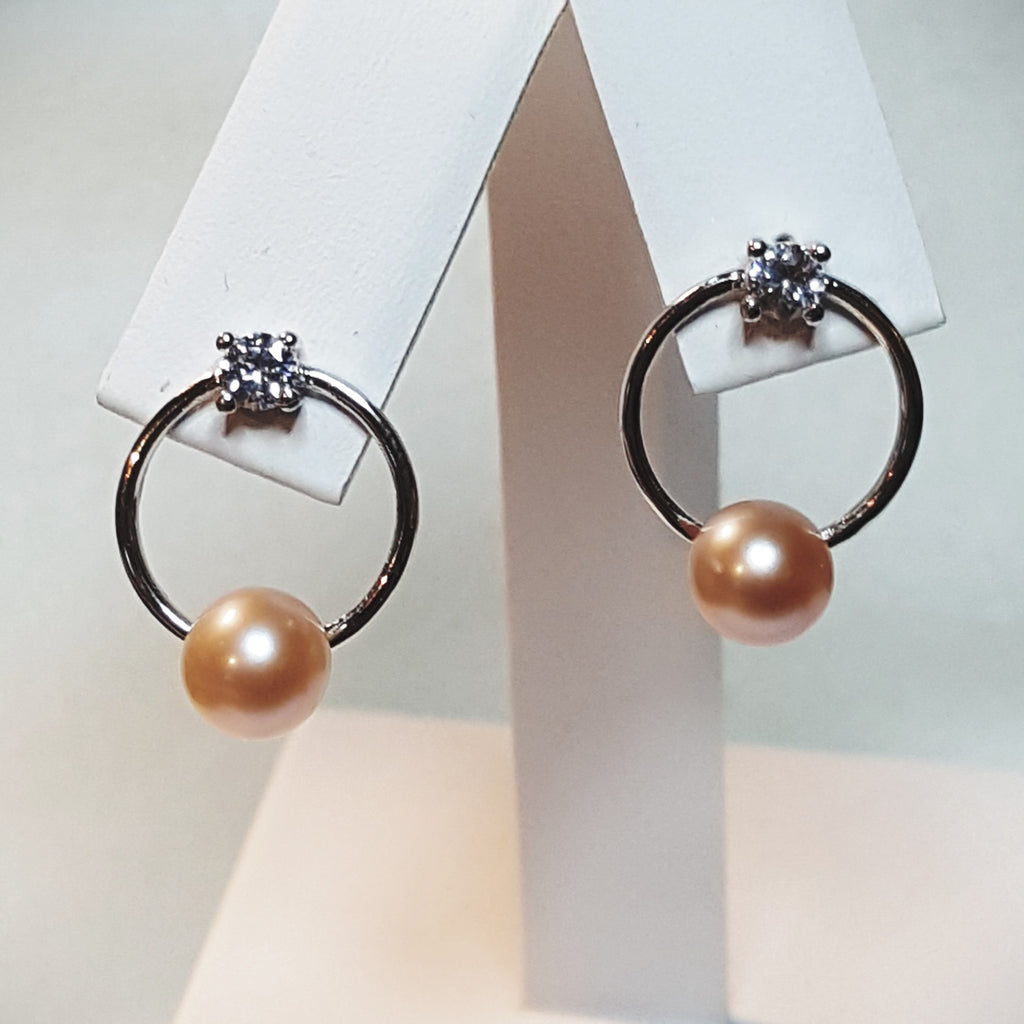 Hoop Earrings with CZ in Sterling Silver with mounting for 1 pearl each - FREE pearl mounting! - #859