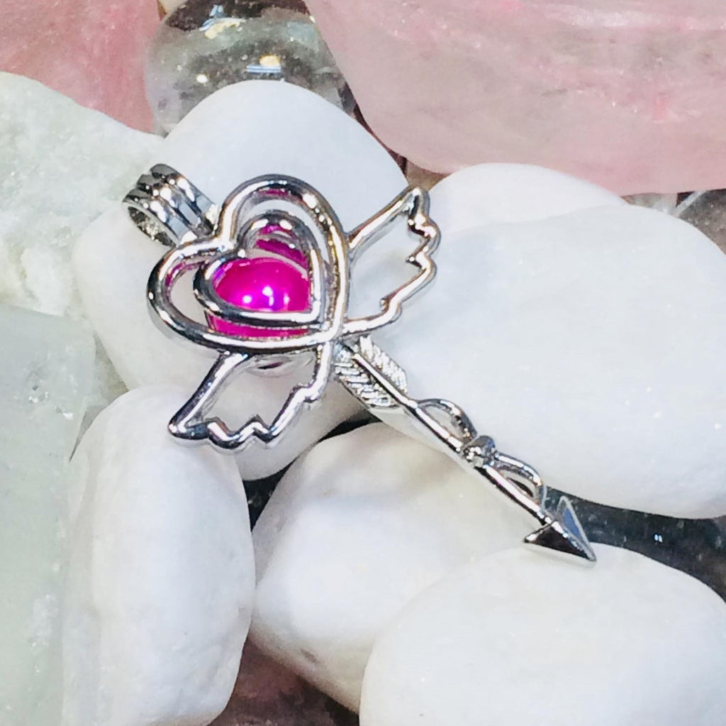 "Cupid Heart with Wings Arrow Pearl Cage and 20"" Chain - 18K White Gold Plated #343"