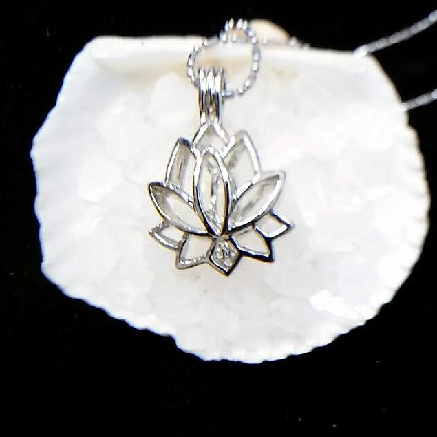 "Lotus Flower Pearl Cage and 20"" Chain - 18K White Gold Plated #399"
