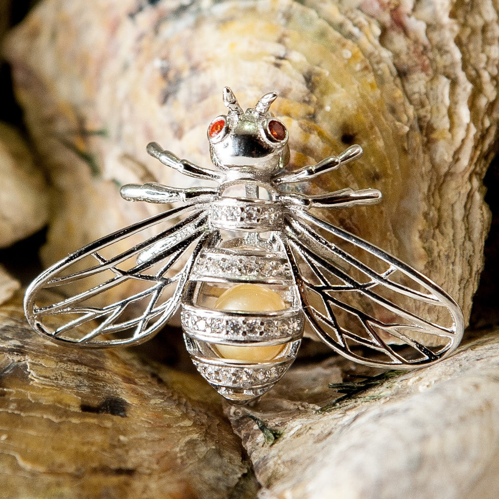 Bee with CZ's Pearl Cage - Sterling Silver #071