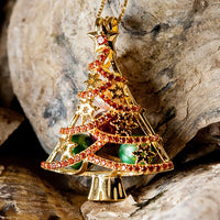 Christmas Tree with CZ's pearl Cage - Yellow Gold plated Sterling Silver with 16