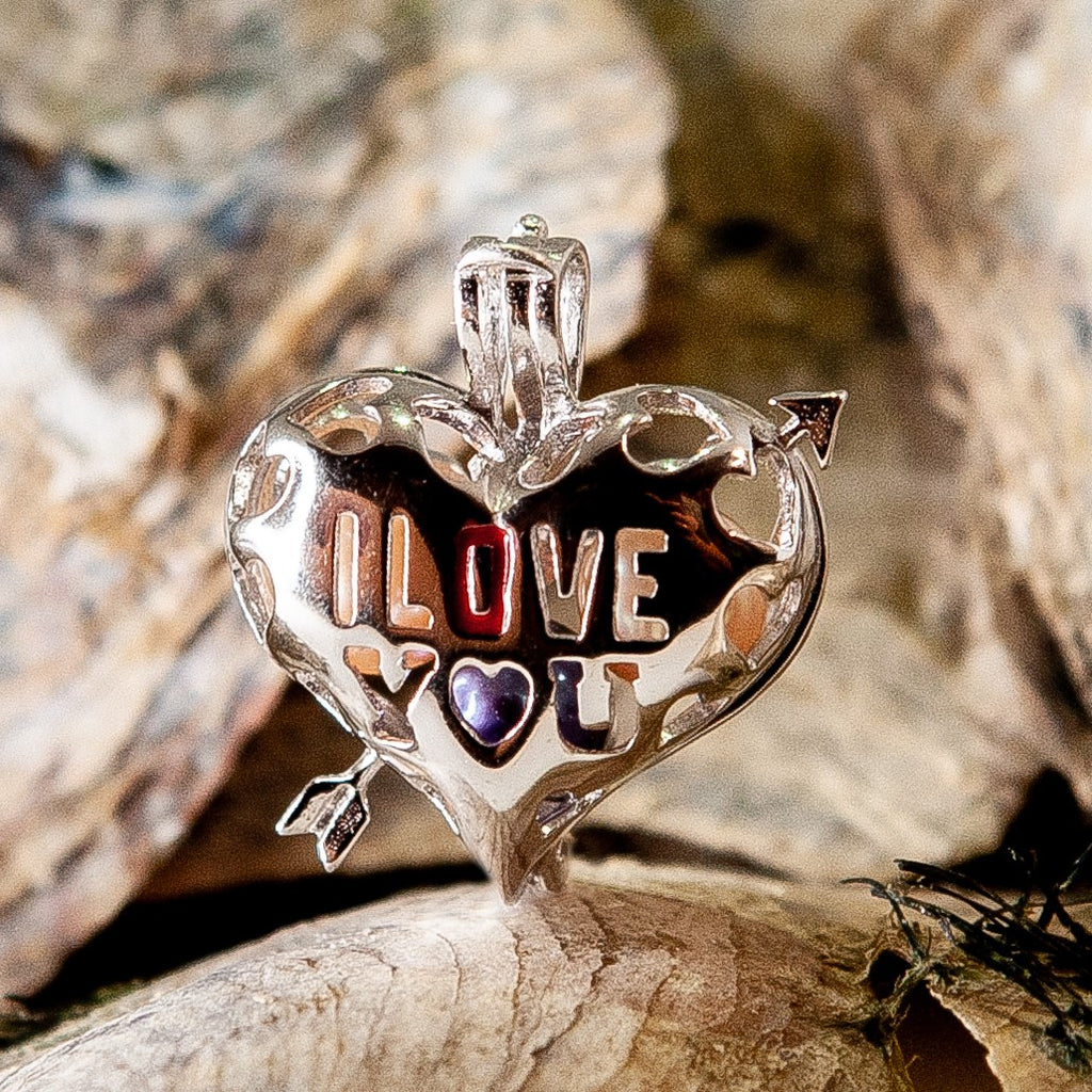 I Love You Heart Pearl Cage - Sterling Silver