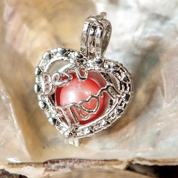 "Heart With ""Best Mom"" Pearl Cage and 20"" Chain - Plated #310"