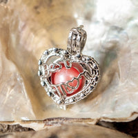 Best Mom Heart Pearl Cage - Sterling Silver #073