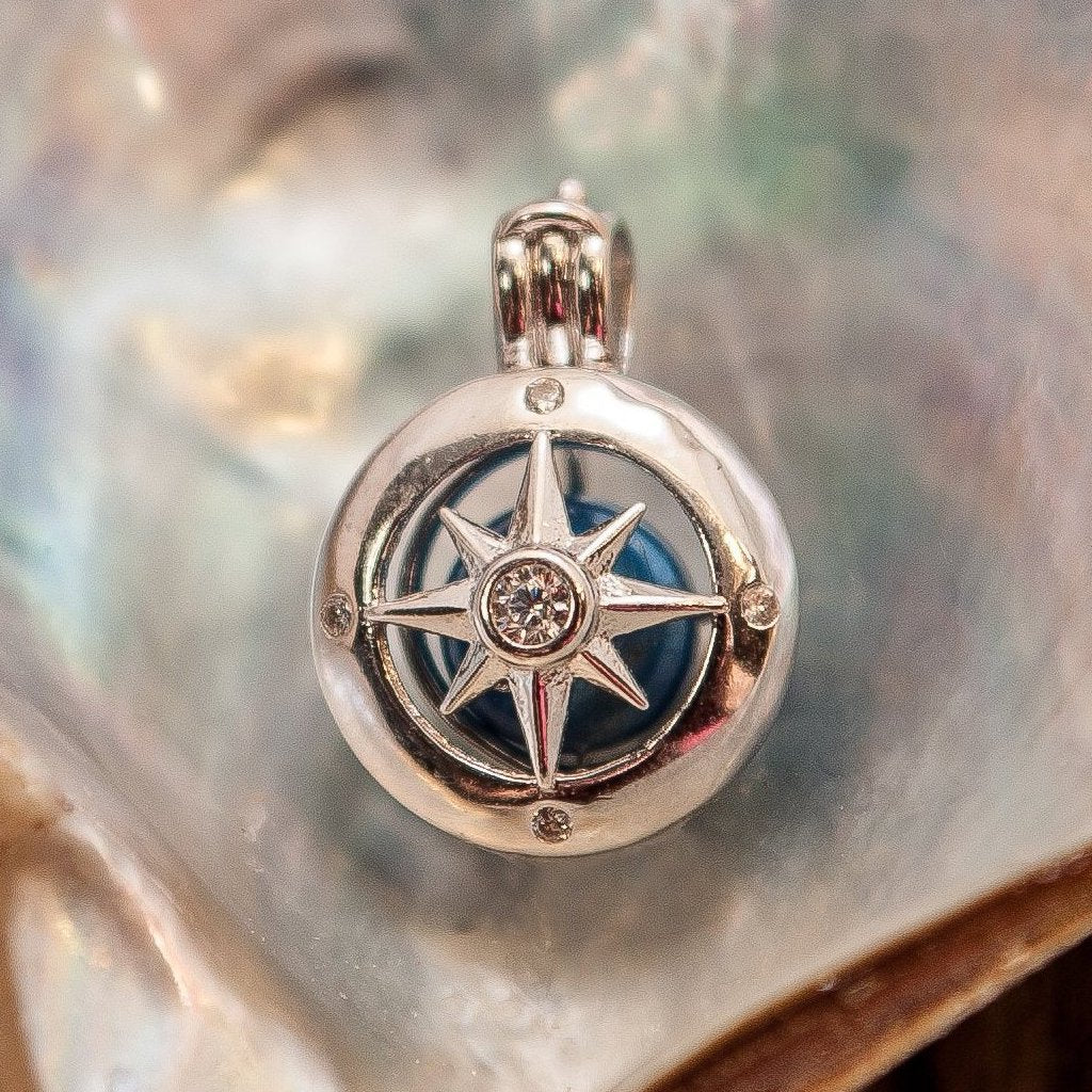 Compass Rose Pearl Cage - Sterling Silver #003