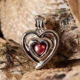 Double Heart Pearl Cage - Sterling Silver #018