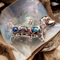 Weiner the Dog Pearl Cage - Sterling Silver #001