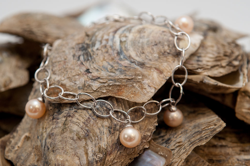 Bracelet with 5 Pearl Mounts in Sterling Silver - FREE Pearl Mounting! #827