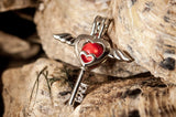 "Heart Key with Wings &""LOVE"" Pearl Cage and 20"" Chain - Plated #345"