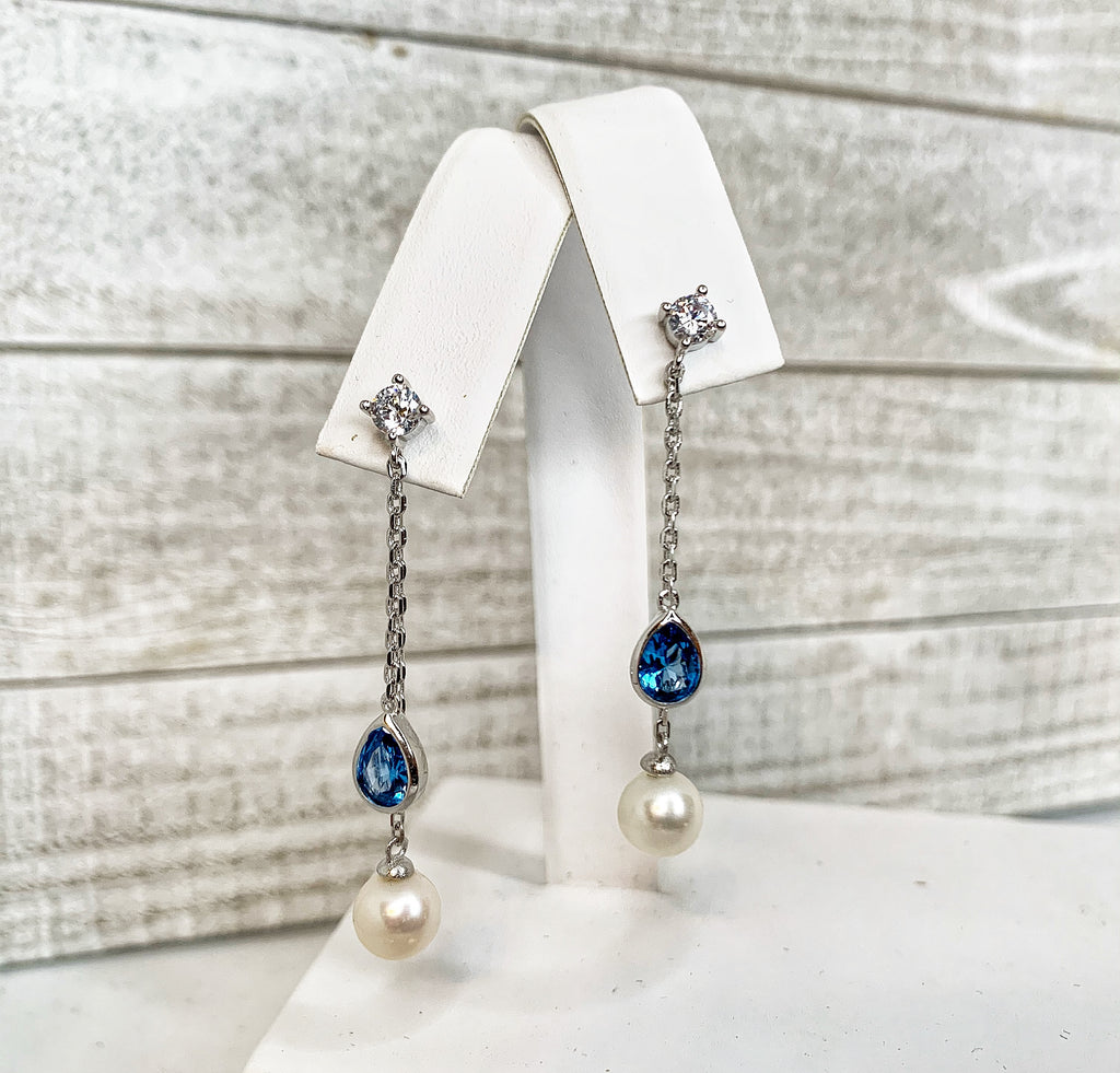 Earrings: Dangle with Blue Teardrop CZ's in Sterling Silver - FREE Pearl Mounting! - #887
