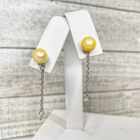 Earrings: Post with Dangle in Sterling Silver - FREE Pearl Mounting! - #888