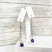 Earring: Double Dangle Leaverback in Sterling Silver - FREE Pearl Mounting! - #890