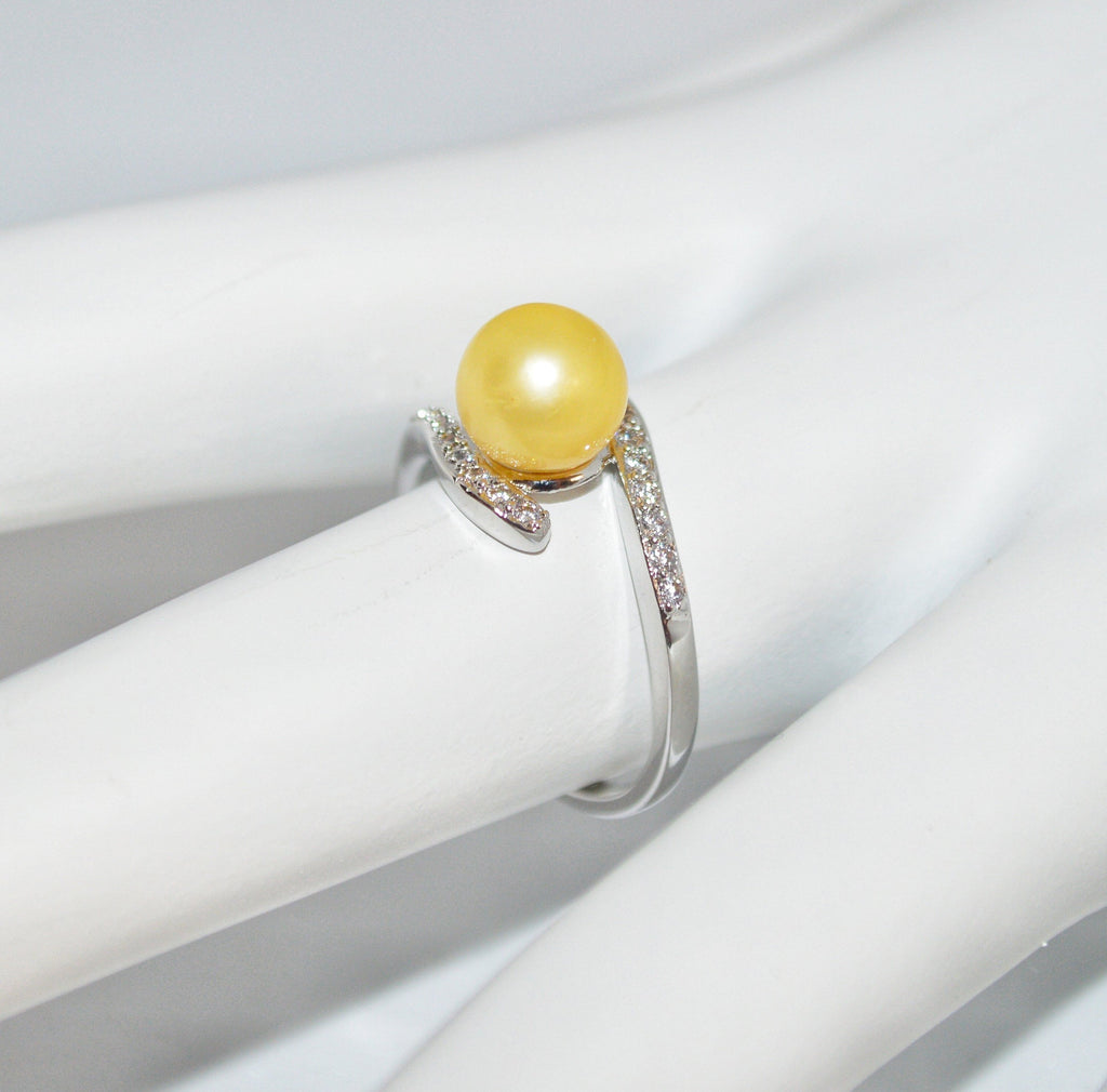 Ring - Wings with CZ's in Sterling Silver - FREE pearl mounting! #824