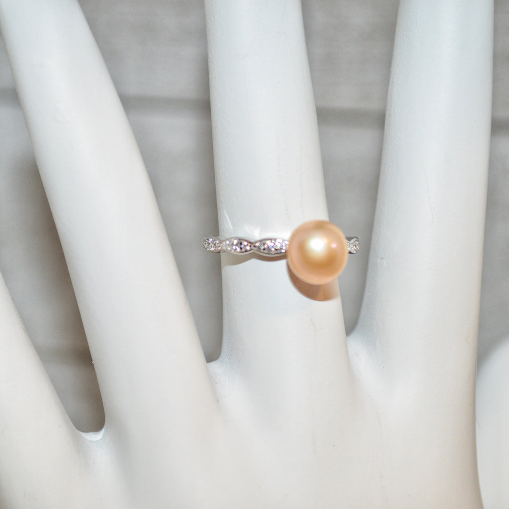Ring - Retro Shapes with CZ's in Sterling Silver - FREE pearl mounting! #821