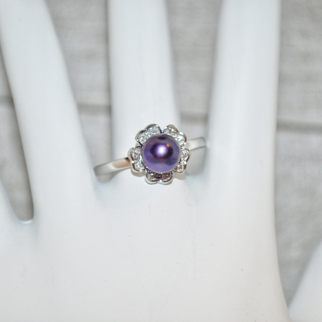 Ring - Flower with CZ's in Sterling Silver - FREE pearl mounting! #820
