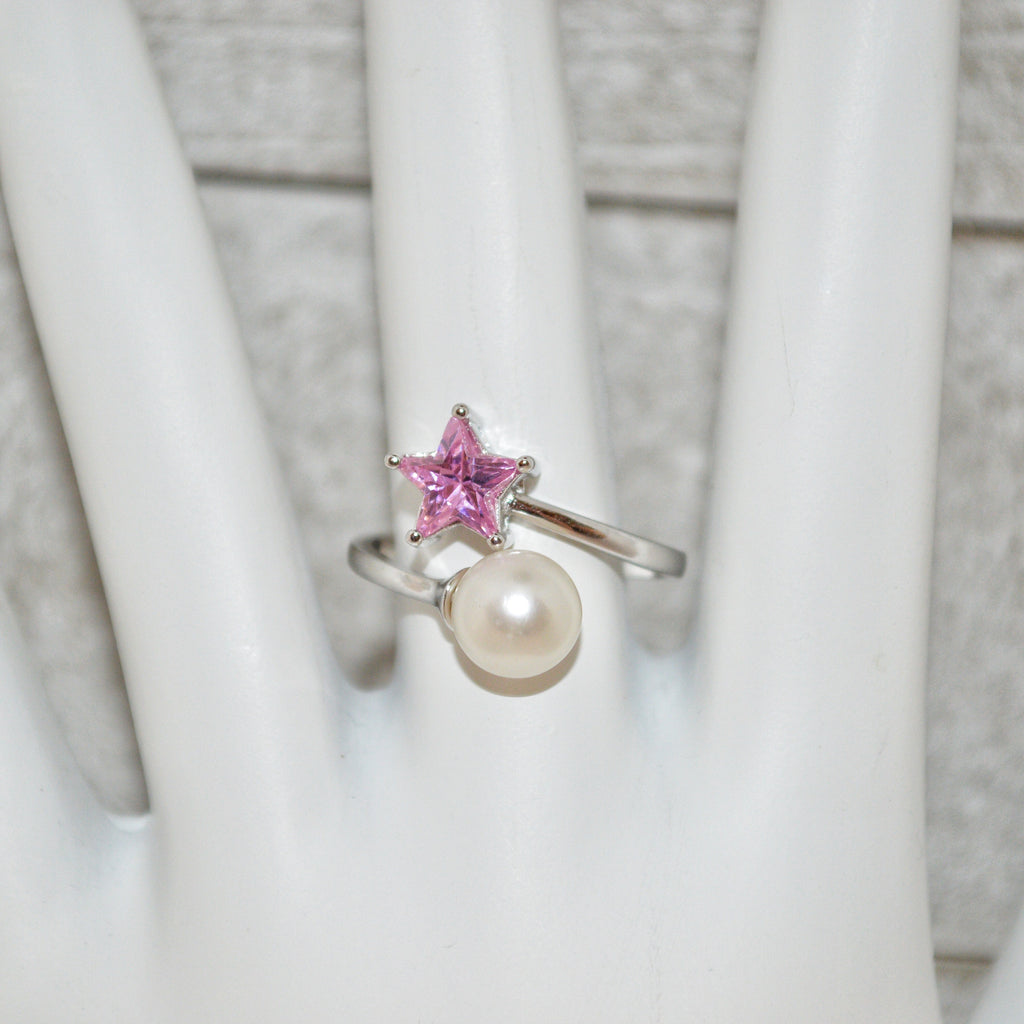 Ring - Pink Star with Pearl in Sterling Silver - FREE pearl mounting! #818