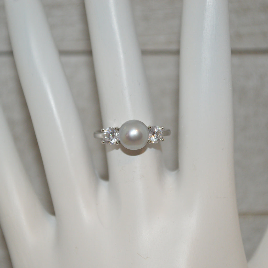 Ring - Large CZ Ring in Sterling Silver - FREE pearl mounting! - #805