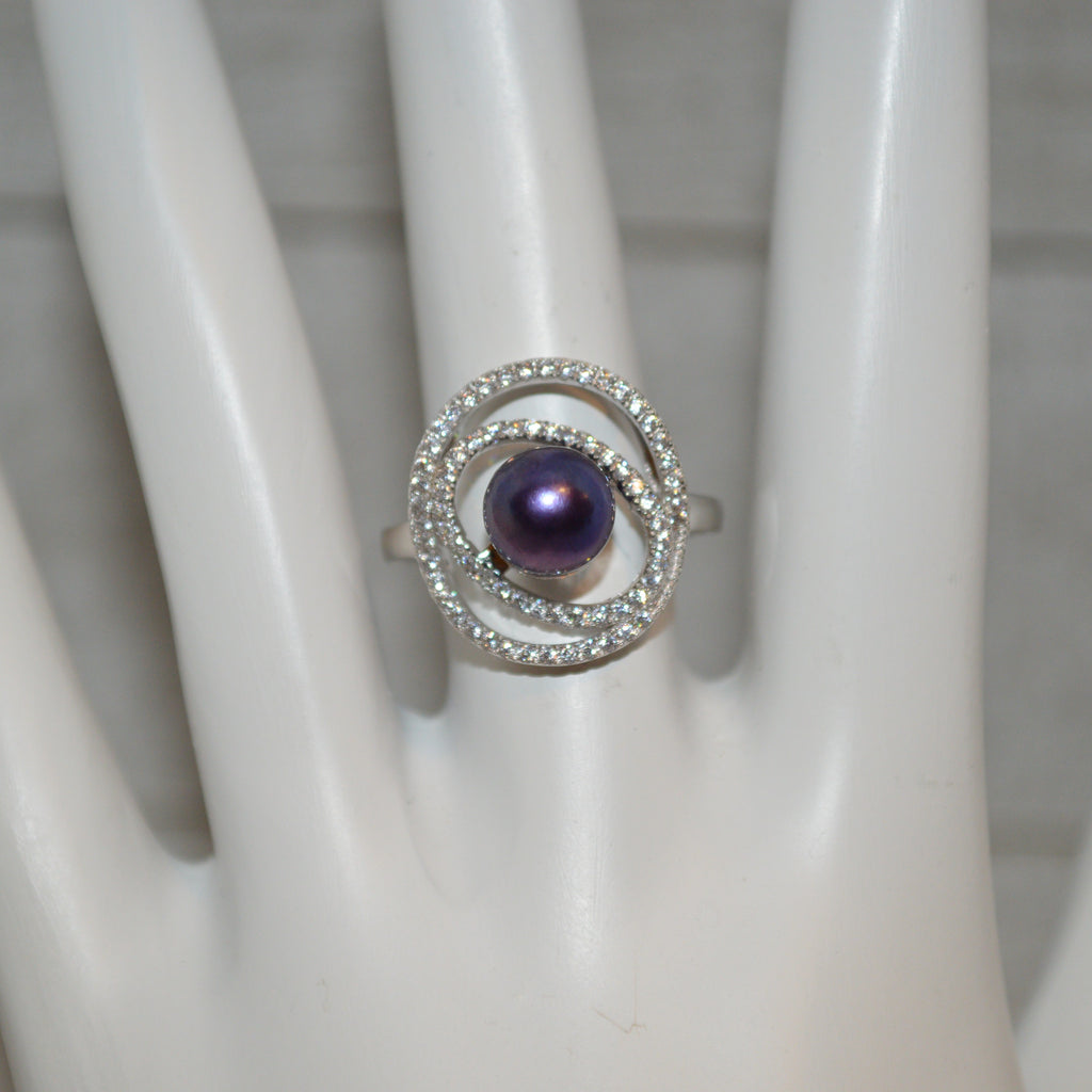 Ring - Oval Ring with CZ in Sterling Silver - FREE pearl mounting! - #806