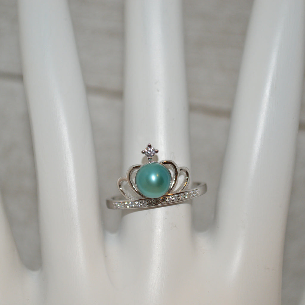 Ring - Crown Ring with CZ in Sterling Silver - FREE pearl mounting! - #807