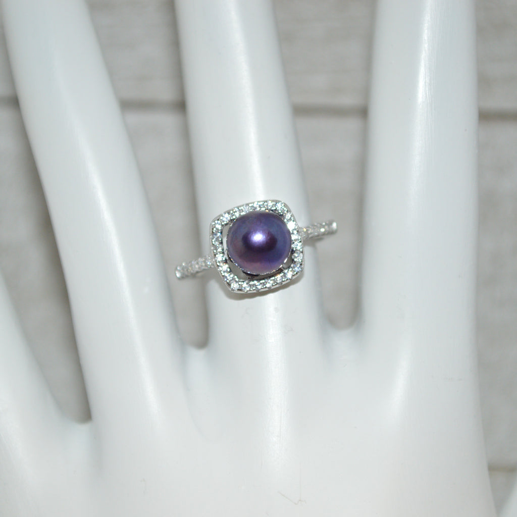 Ring - Halo with CZ's in Sterling Silver - FREE pearl mounting! - #815