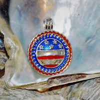 Patriotic Round Pearl Cage - Sterling Silver #152