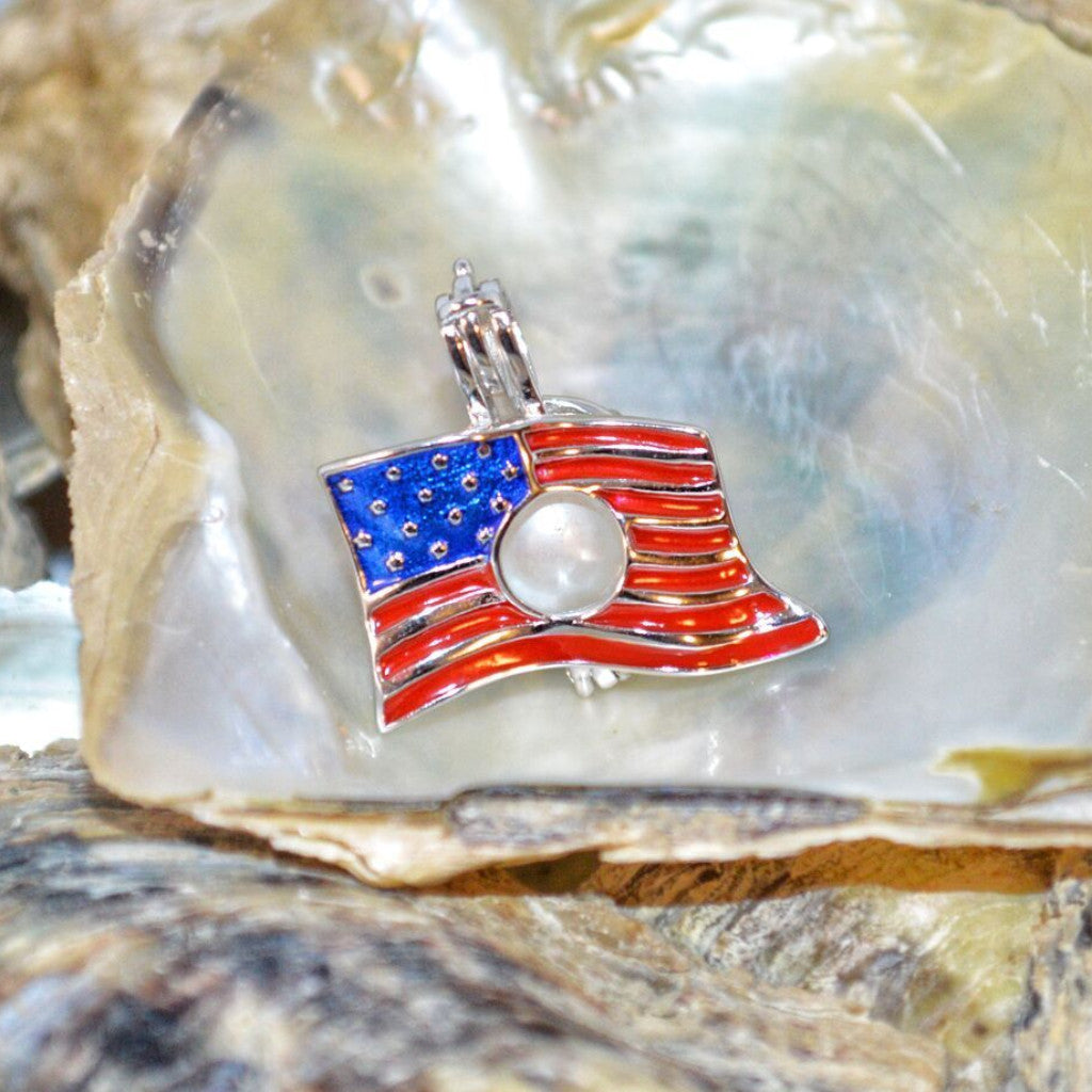 American Flag Pearl Cage - Sterling Silver  #134