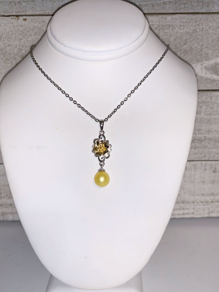 Pendant - Yellow Gold Flower Pendant in Sterling Silver - FREE Pearl Mounting! #872