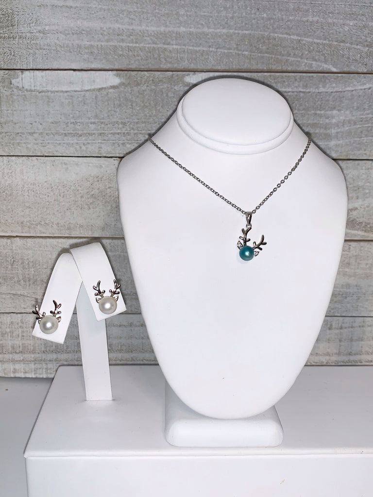 Set of Deer Pendant and Matching Earrings in Sterling Silver - FREE Pearl Mounting! #876