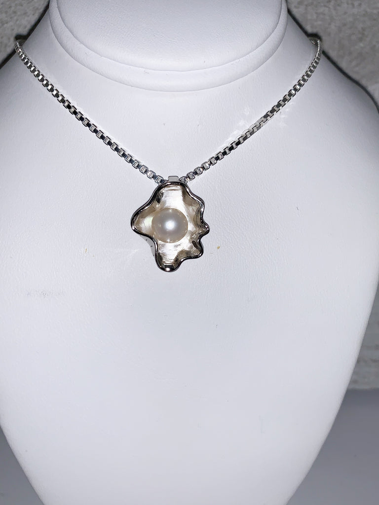 Pendant - Wavy Shell Pendant in Sterling Silver - FREE pearl mounting! #871