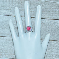 Ring -  Round Halo with CZ's in Sterling Silver - FREE pearl mounting! - #883