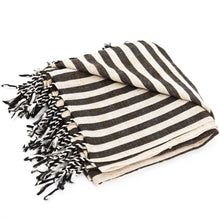 stripe charcoal linen beach towel
