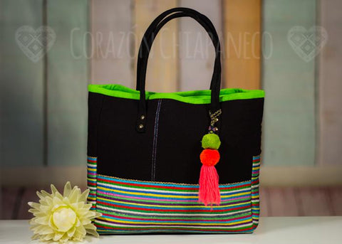 CANVAS BAG dark and colored ribbons