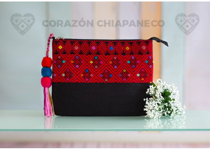 CLUTCH BAG RED AND BLACK