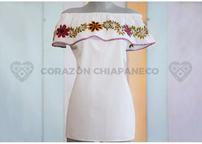 Peasant blouse white tone in Manta