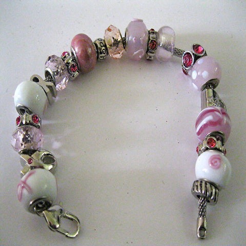 Pink and White Breast Cancer Awareness Charm Bracelet