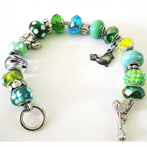 Festive Green Charm Bracelet with Bar Clasp