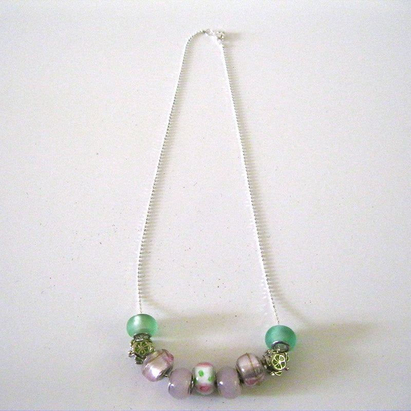 Pink and Green Charm Necklace