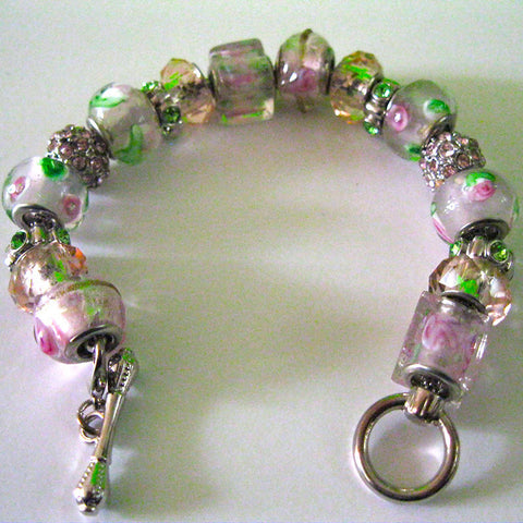 Pink and Green Charm Bracelet with Bar Clasp