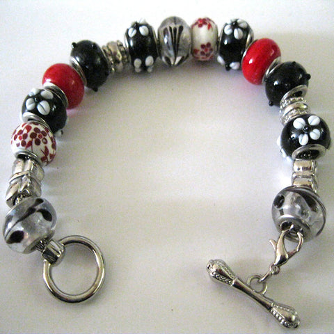 Red and Black Charm Bracelet with Bar Clasp