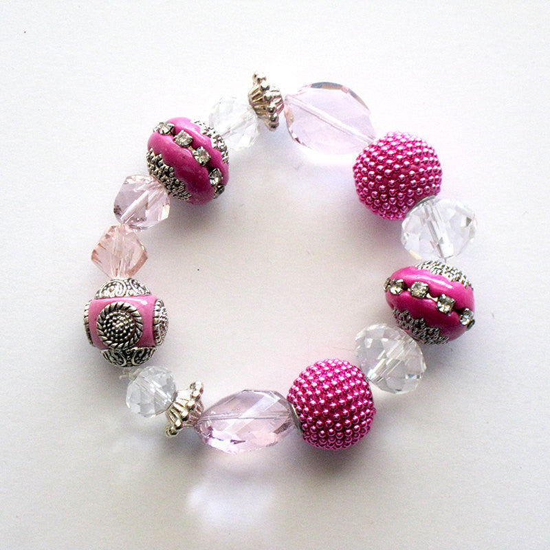 Pink Empress Stretch Charm Bracelet