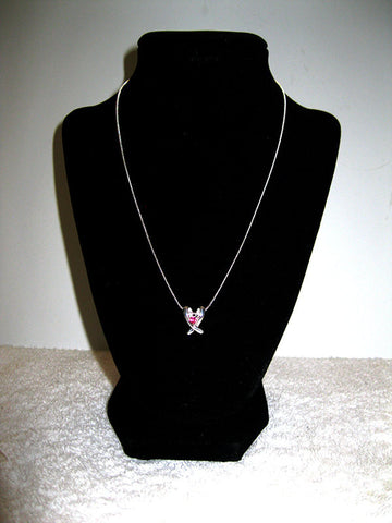 "18"" Double Silver Ribbon Necklace"