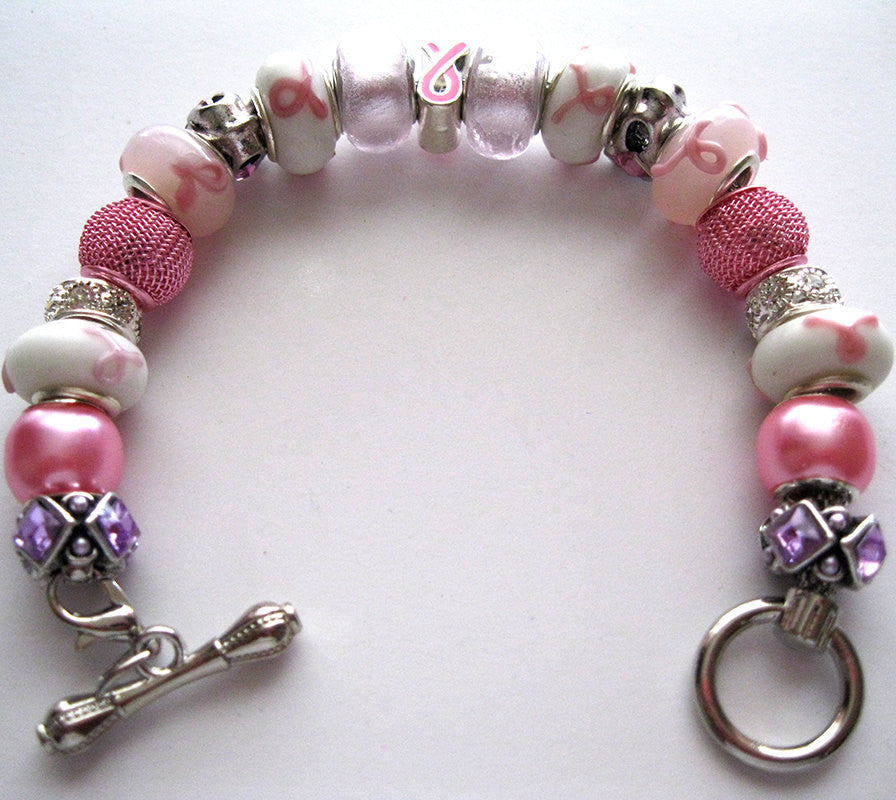 Beautiful Breast Cancer Awareness Charm Bracelet
