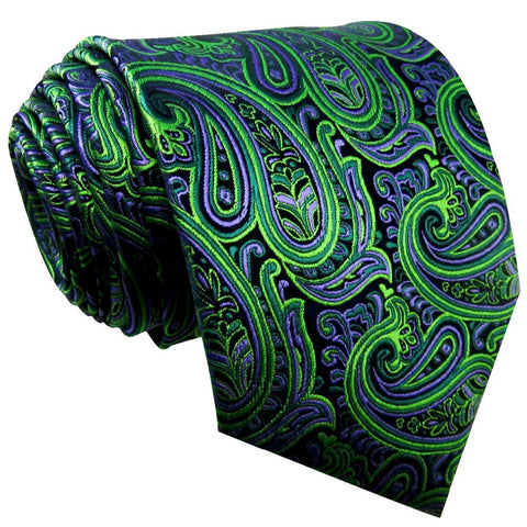 Shlax & Wing Green & Purple Paisley Extra Long Men's Tie