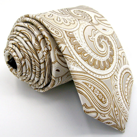 Shlax & Wing Cream & Gold Paisley Extra Long Men's Tie
